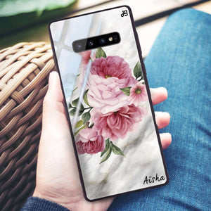 Floral & Marble Samsung S10 Plus Glass Case