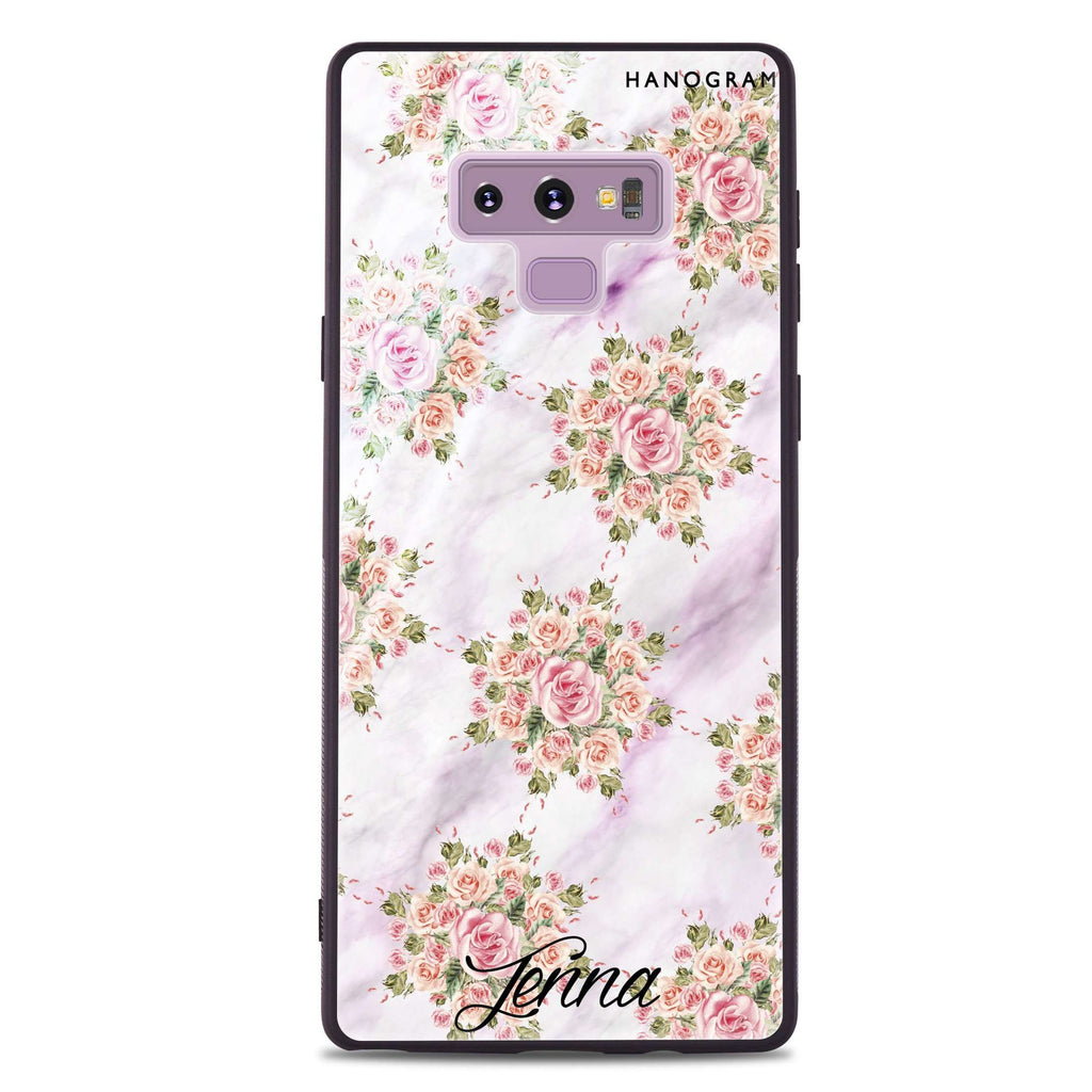 Floral & White Marble Samsung Note 9 Glass Case