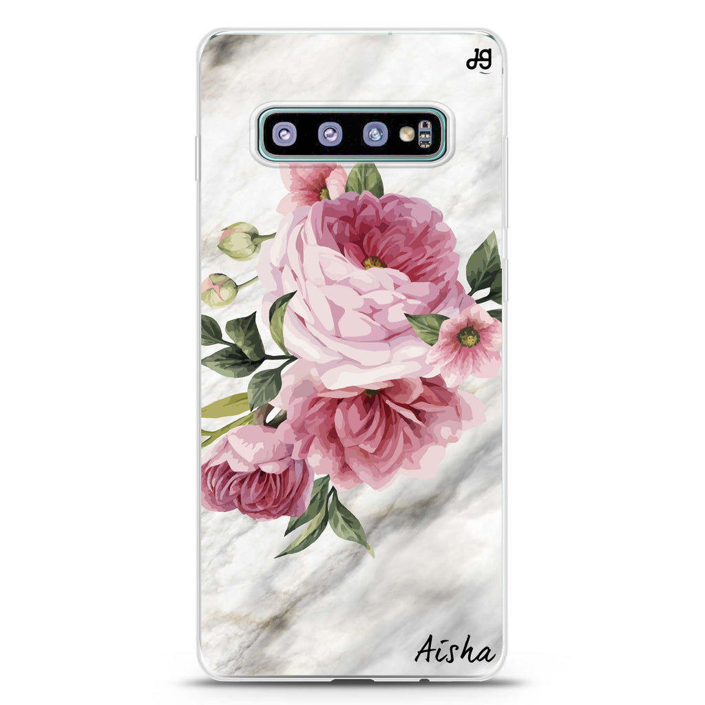 Floral & Marble Samsung S10 Plus Soft Clear Case