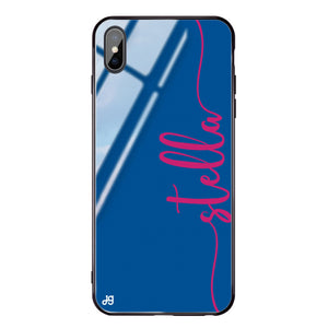 Vertical Script Handwritten Princess Blue Glass Case