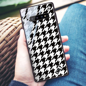 Houndstooth Samsung S10 Plus Glass Case