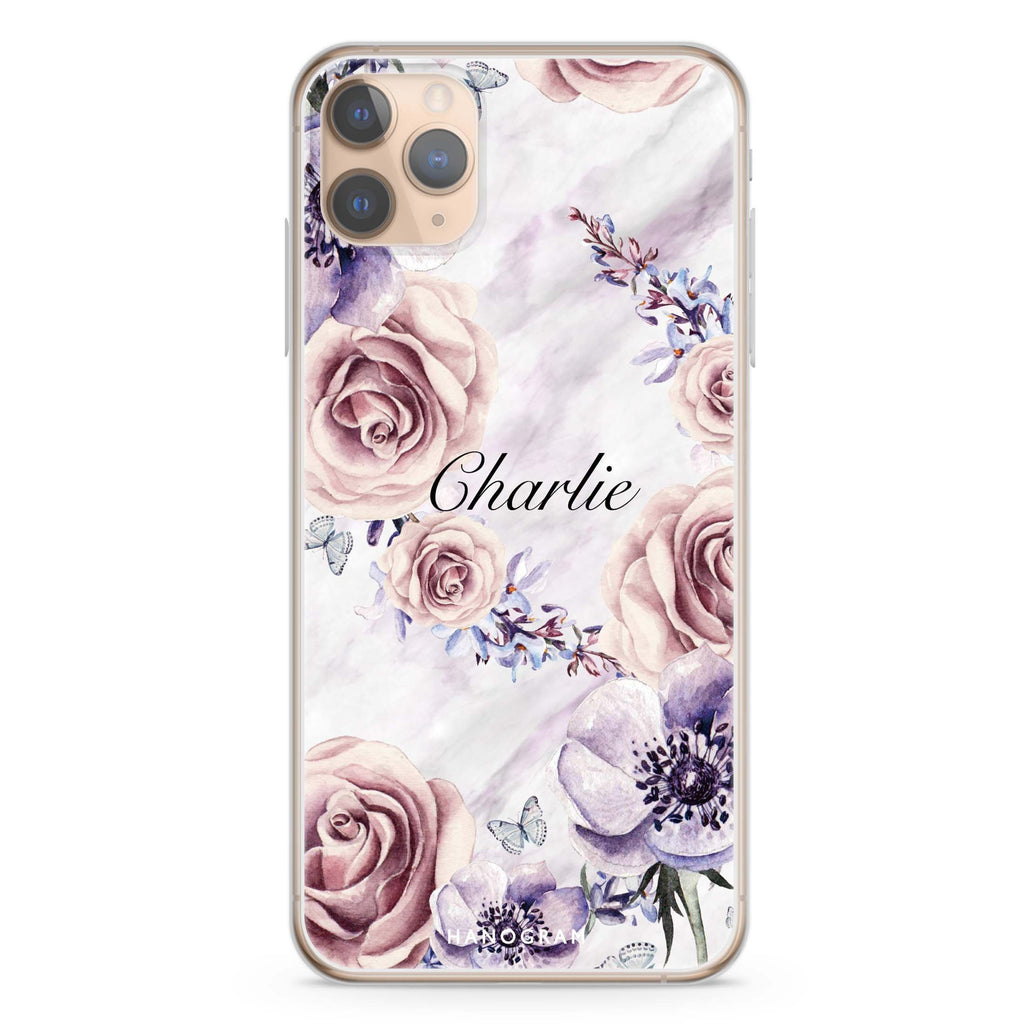 White Marble & Flower iPhone 11 Pro Max Soft Clear Case