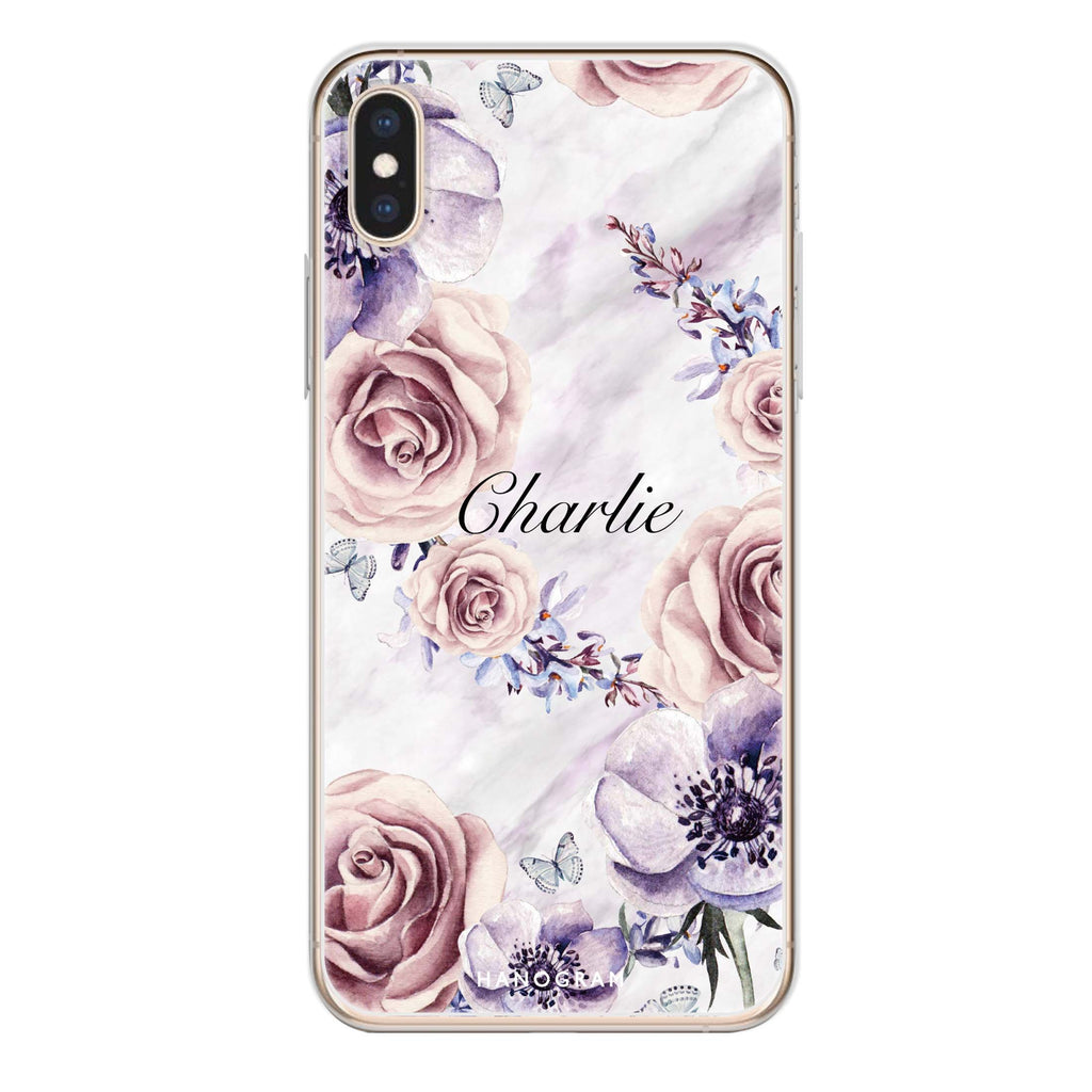 White Marble & Flower iPhone XS Soft Clear Case