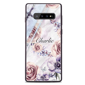 White Marble & Flower Samsung S10 Plus Glass Case