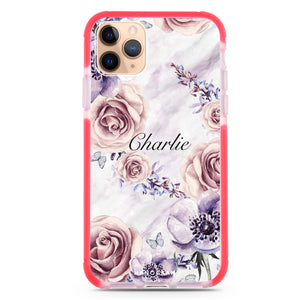 White Marble & Flower iPhone 11 Pro Max Shockproof Bumper Case