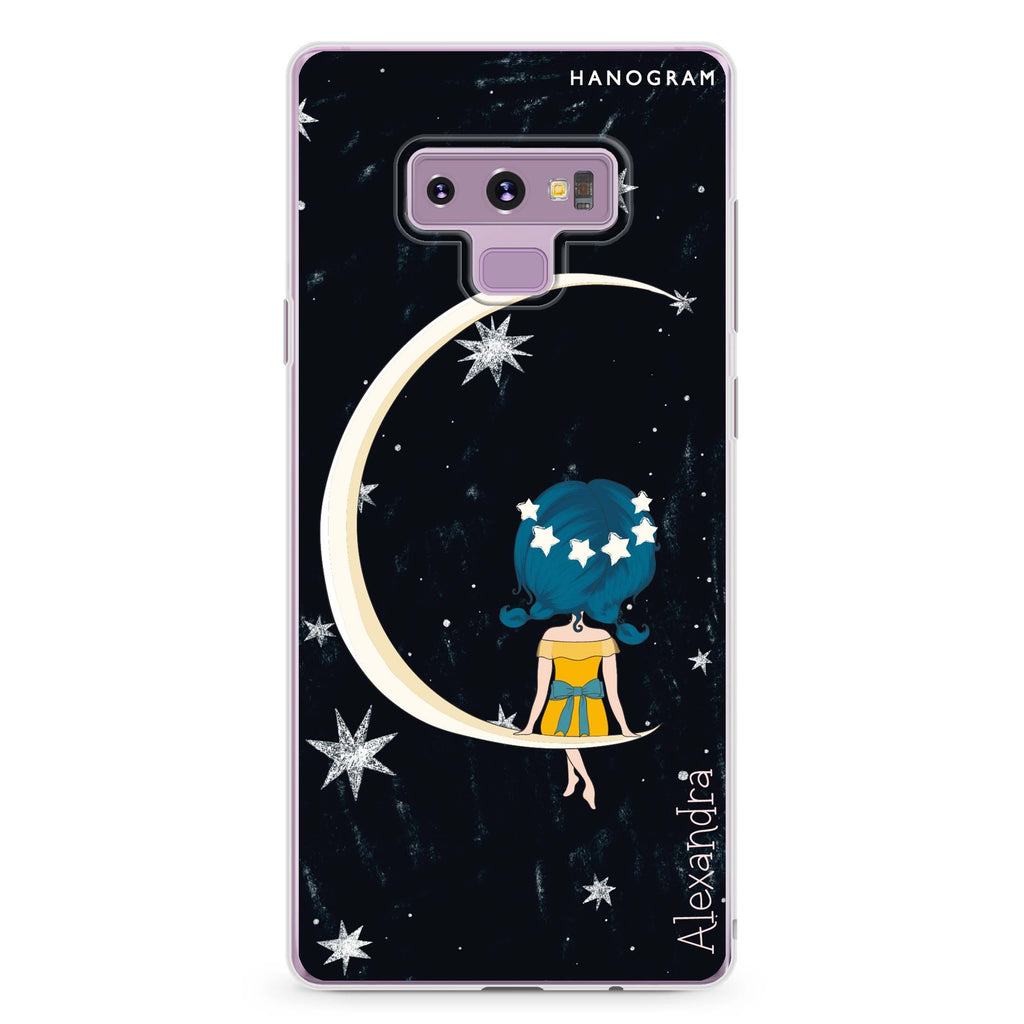 Cute Girl Moon Samsung Note 9 Soft Clear Case