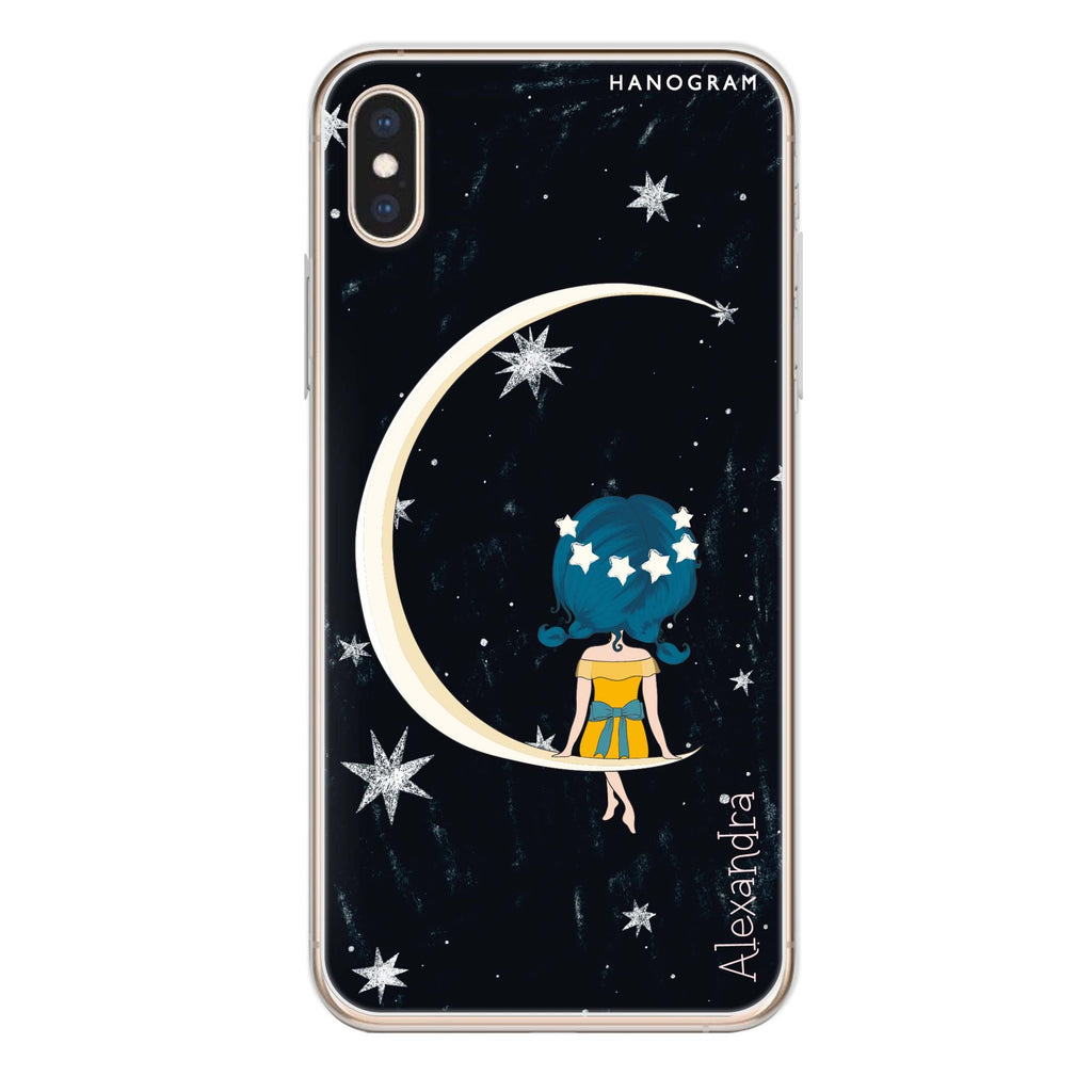 Cute Girl Moon iPhone XS Soft Clear Case
