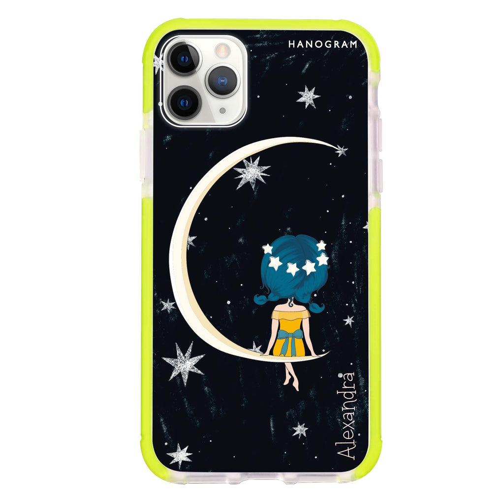 Cute Girl Moon Shockproof Bumper Case
