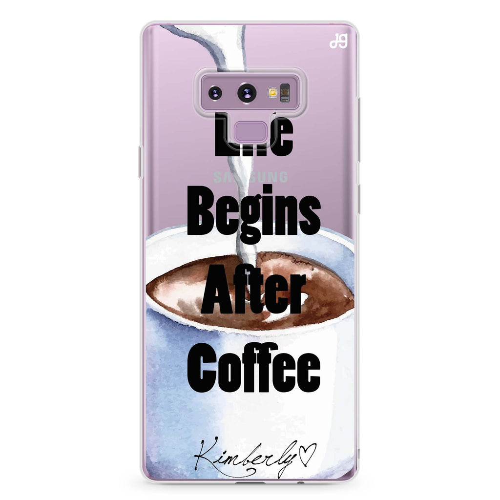 Life begins after coffee Samsung Note 9 Soft Clear Case