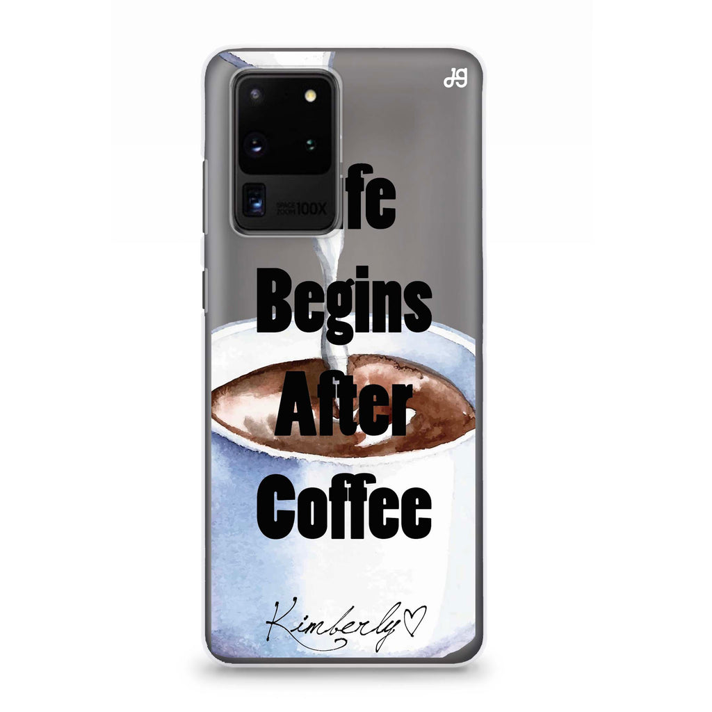 Life begins after coffee Samsung S20 Ultra Soft Clear Case