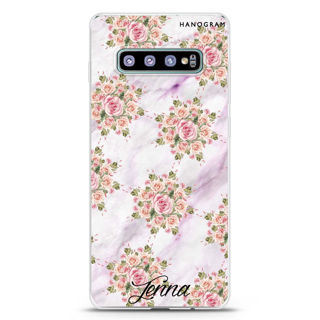 Floral & White Marble Samsung S10 Plus Soft Clear Case