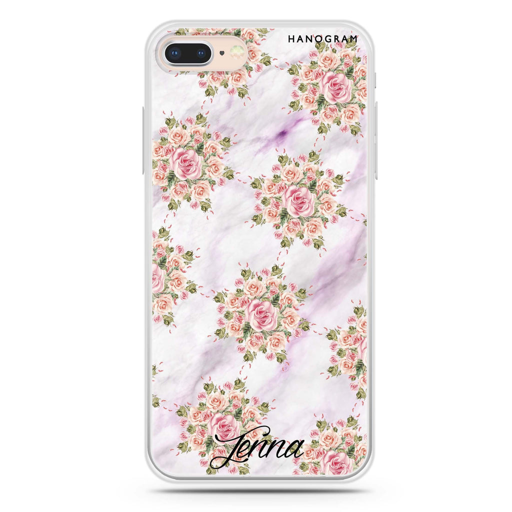 Floral & White Marble iPhone 8 Soft Clear Case