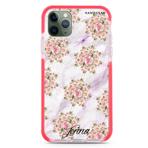 Floral & White Marble Shockproof Bumper Case