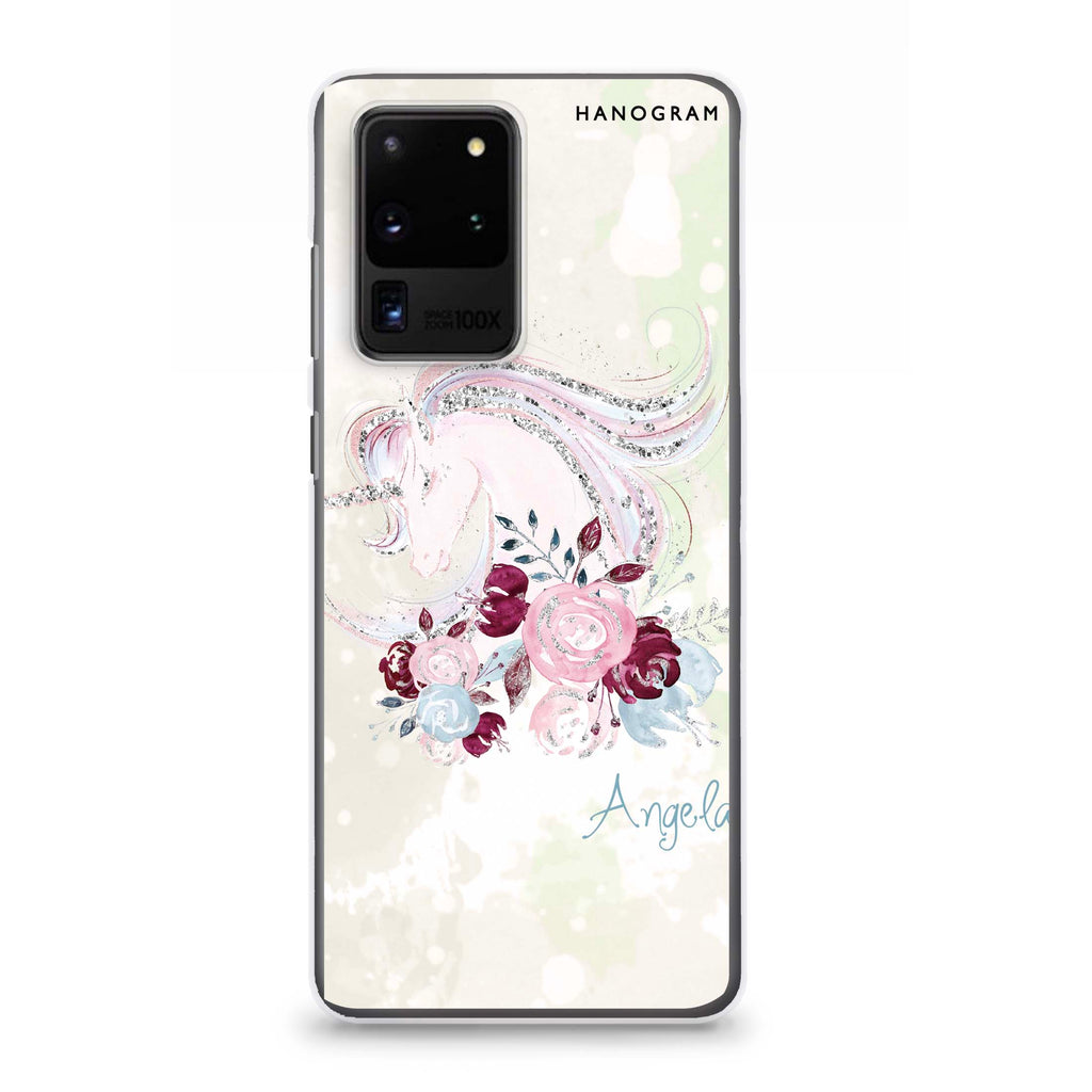 Unicorn & Floral Samsung S20 Ultra Soft Clear Case