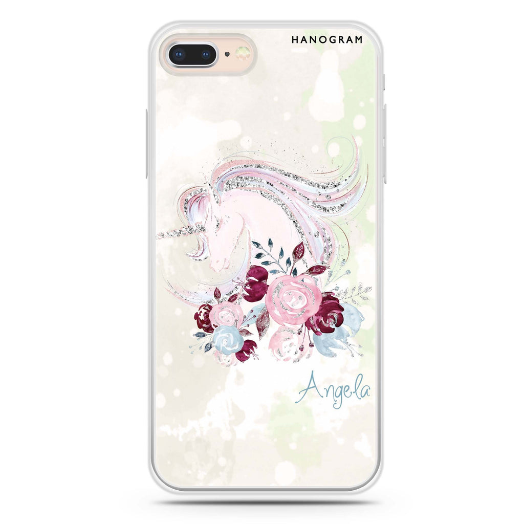 Unicorn & Floral iPhone 8 Soft Clear Case