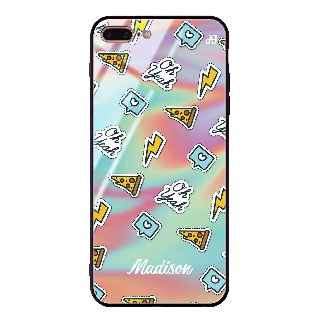 Pizza Sticker iPhone 8 Plus Glass Case