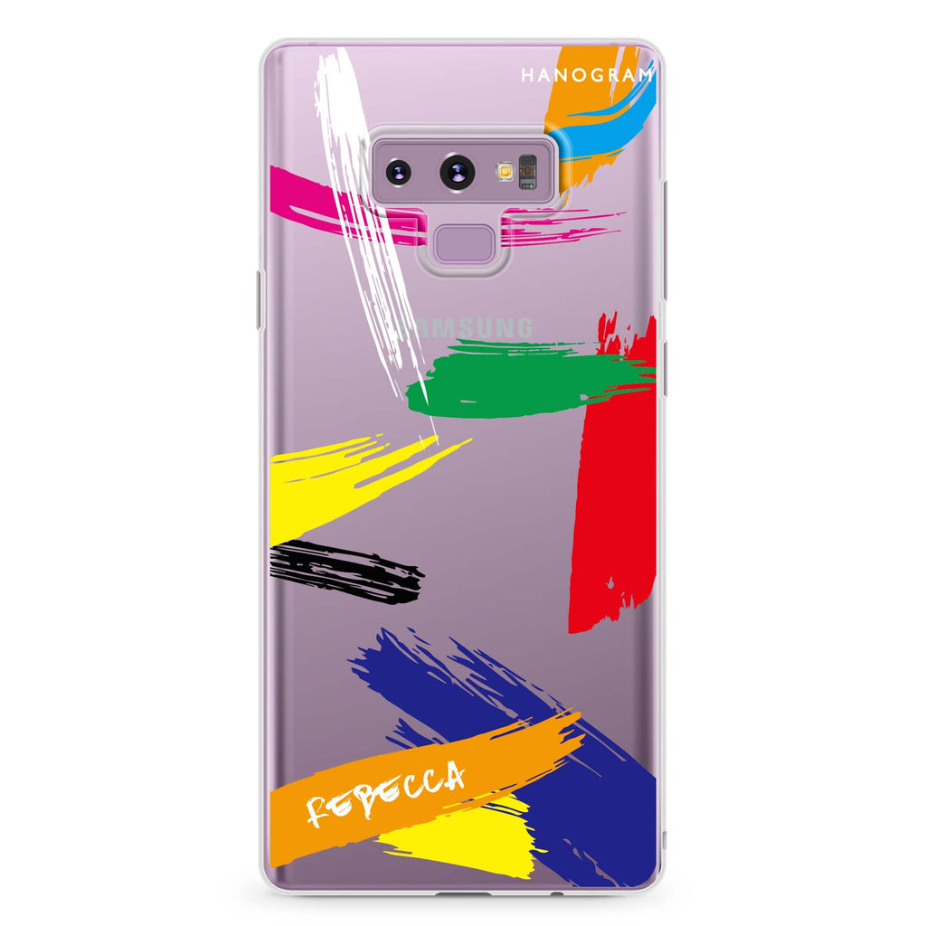 Brush Paint Samsung Note 9 Soft Clear Case