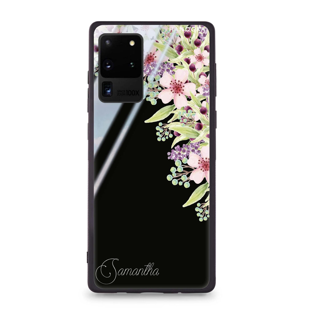 Pink Flowers Samsung Glass Case