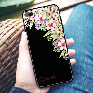 Pink Flowers iPhone 8 Plus Glass Case
