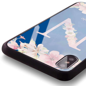 Monogram & Floral Princess Blue Glass Case
