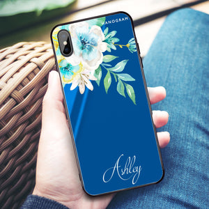 Watercolor Flowers Princess Blue Glass Case