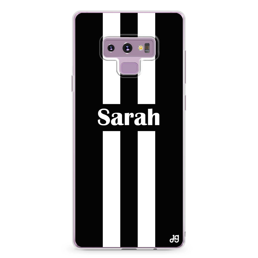 Black and white Stripes Samsung Note 9 Soft Clear Case
