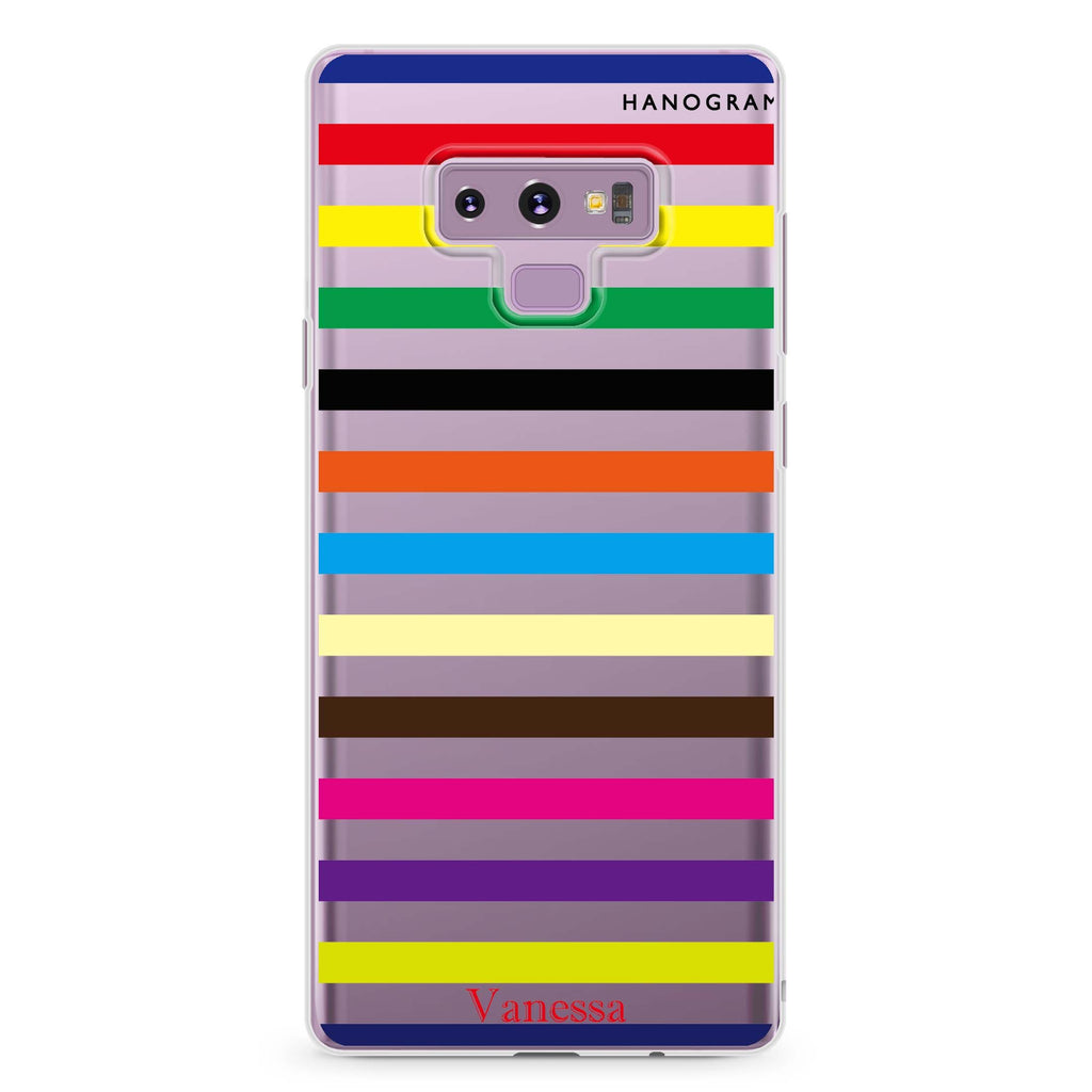 colorful stripe Samsung Note 9 Soft Clear Case