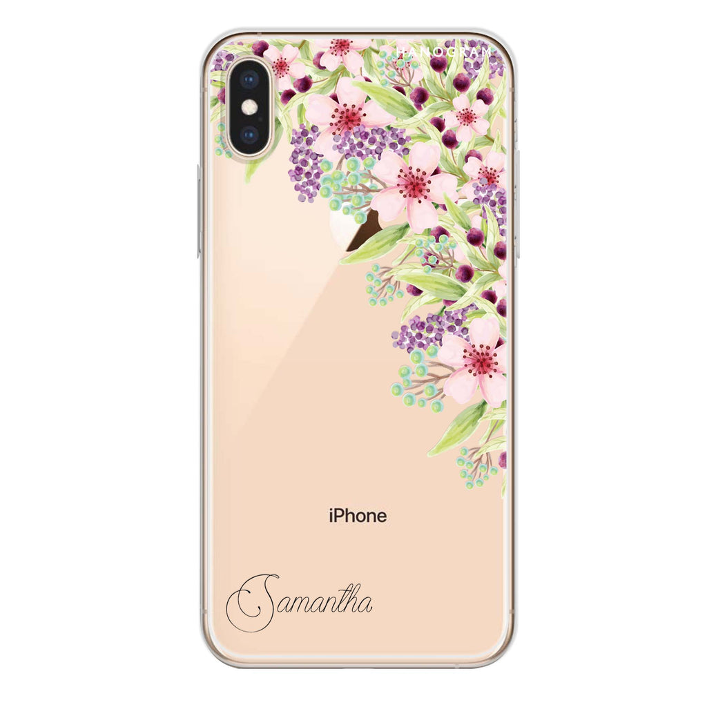 Pink Flowers iPhone XS Max Soft Clear Case