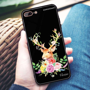 Floral & Deer iPhone 8 Plus Glass Case