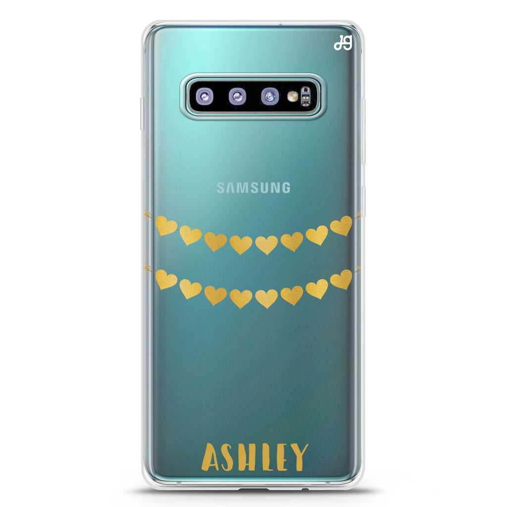 Golden Heart Samsung S10 Plus Soft Clear Case