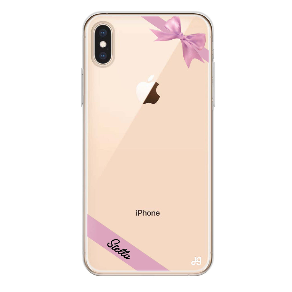 Pink Bow iPhone XS Max Soft Clear Case