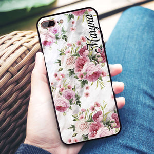 Marble and Pink Floral iPhone 8 Plus Glass Case