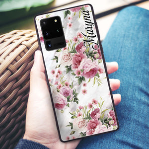 Marble and Pink Floral Samsung Glass Case