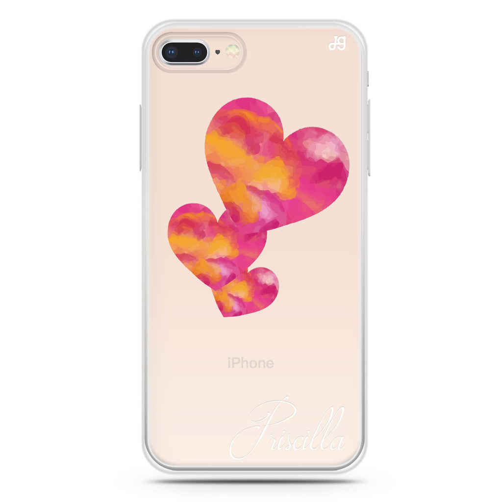Red Hearts iPhone 7 Plus Soft Clear Case