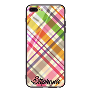 Colourful Checker Custom Name iPhone 8 Plus Glass Case