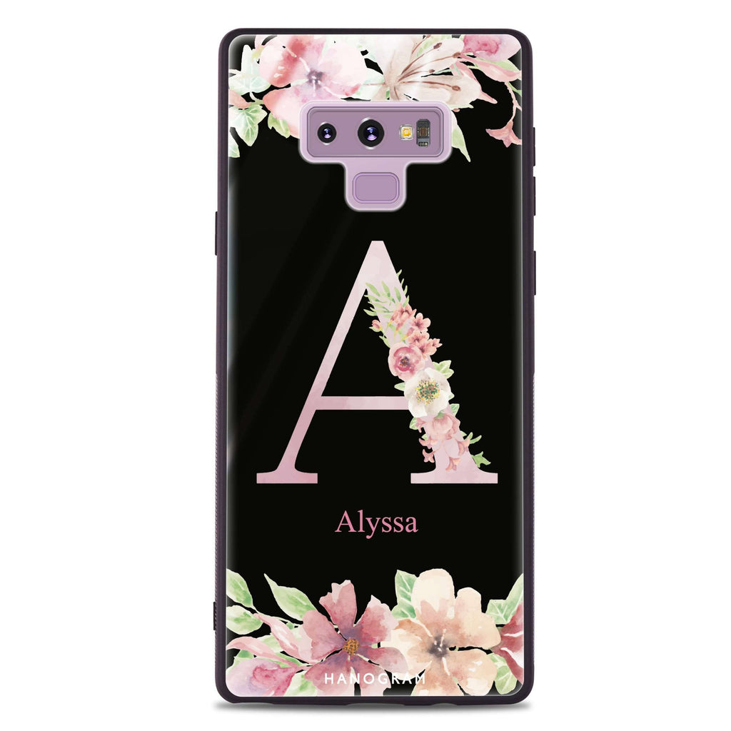 Monogram & Floral Samsung Note 9 Glass Case
