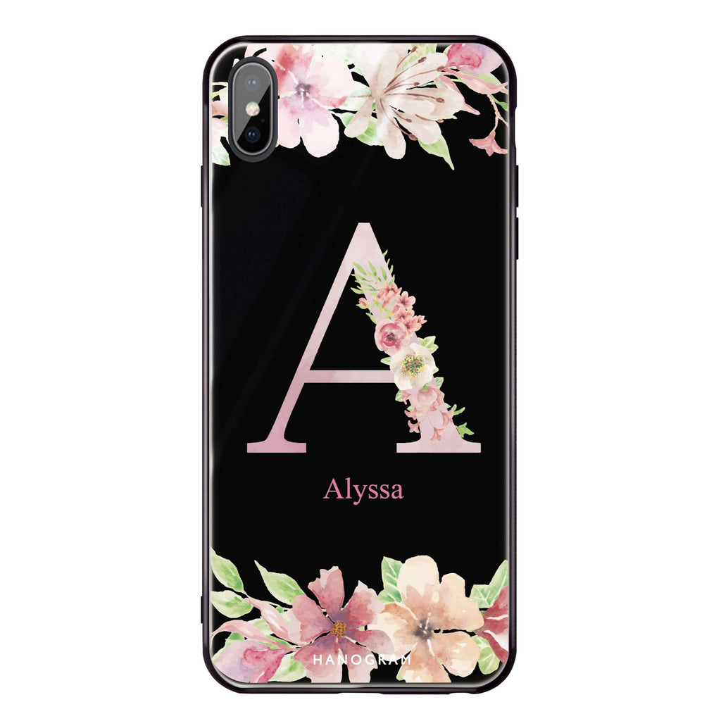Monogram & Floral iPhone XS Max Glass Case
