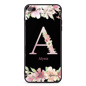 Monogram & Floral iPhone 8 Plus Glass Case