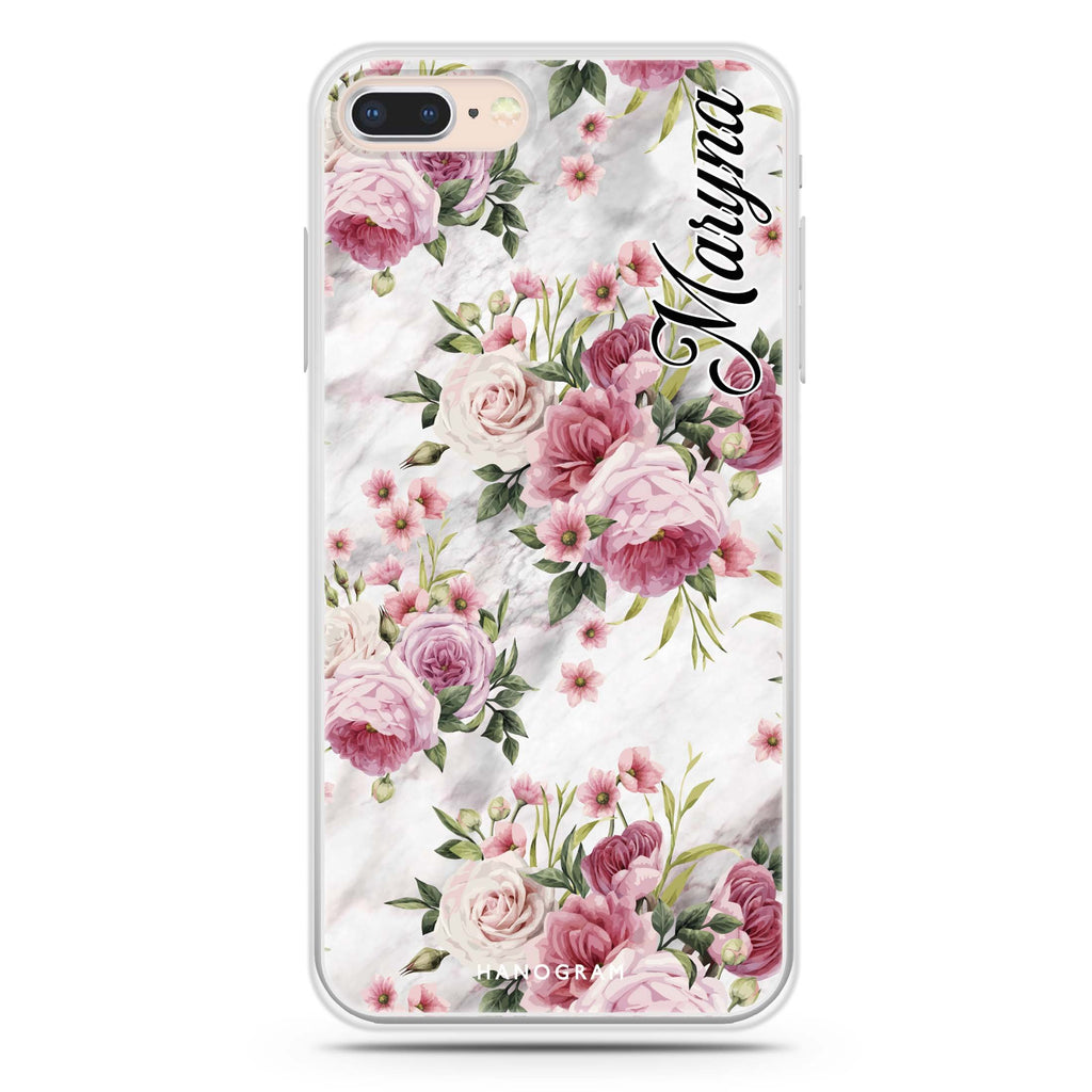 Marble and Pink Floral iPhone 7 Plus Soft Clear Case