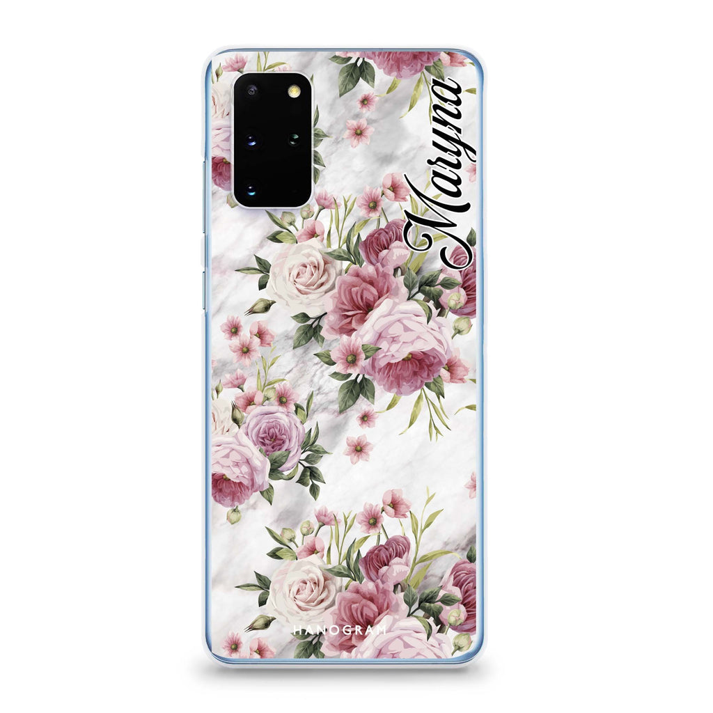 Marble and Pink Floral Samsung S20 Soft Clear Case