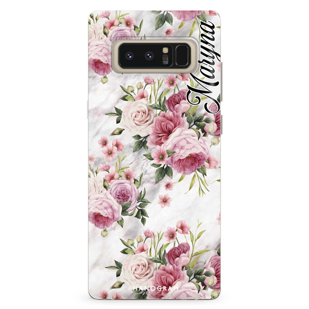 Marble and Pink Floral Samsung Note 8 Soft Clear Case