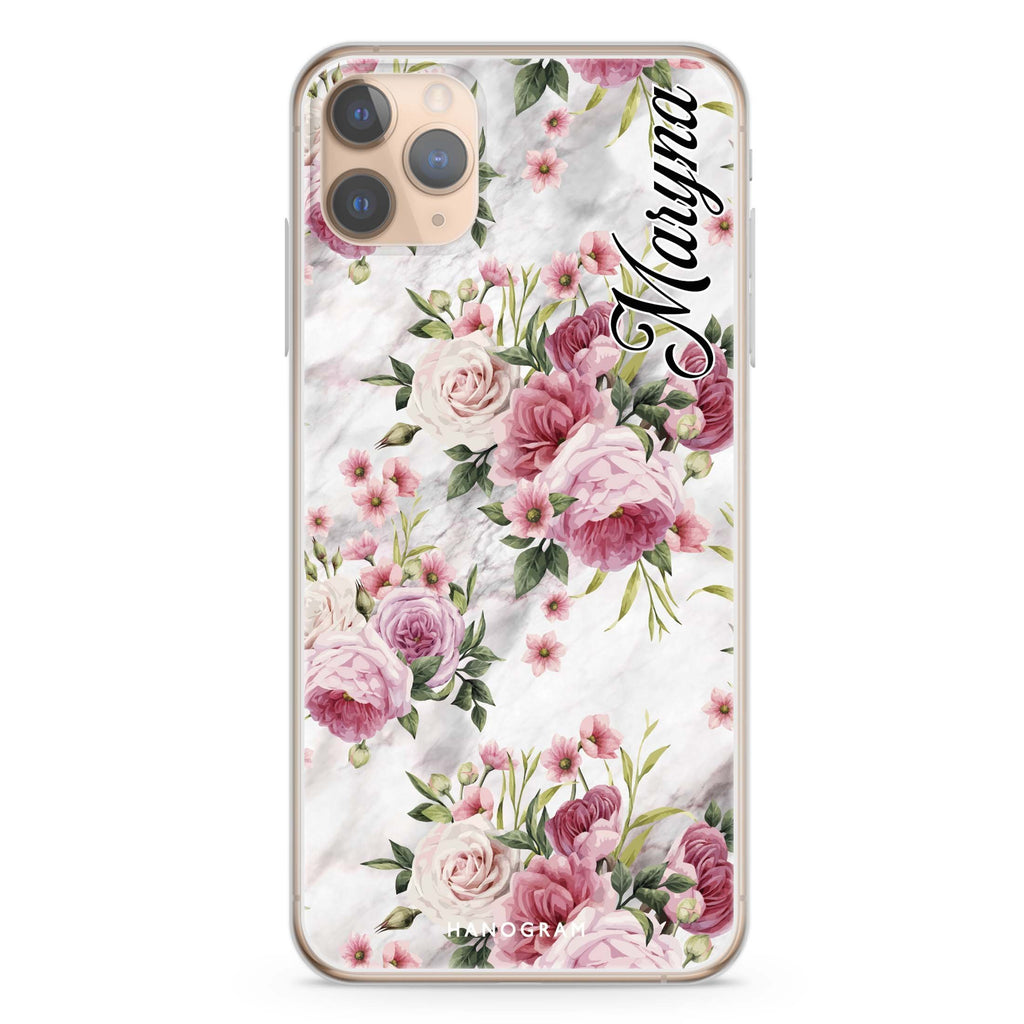 Marble and Pink Floral iPhone 11 Pro Max Soft Clear Case