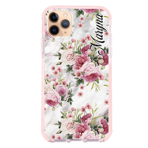 Marble and Pink Floral Shockproof Bumper Case