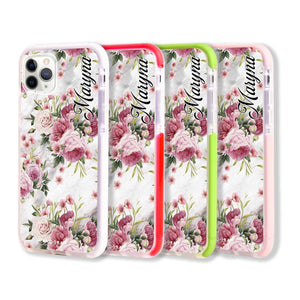 Marble and Pink Floral Frosted Bumper Case