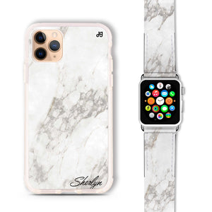 Simple White Marble - Frosted Bumper Case and Watch Band
