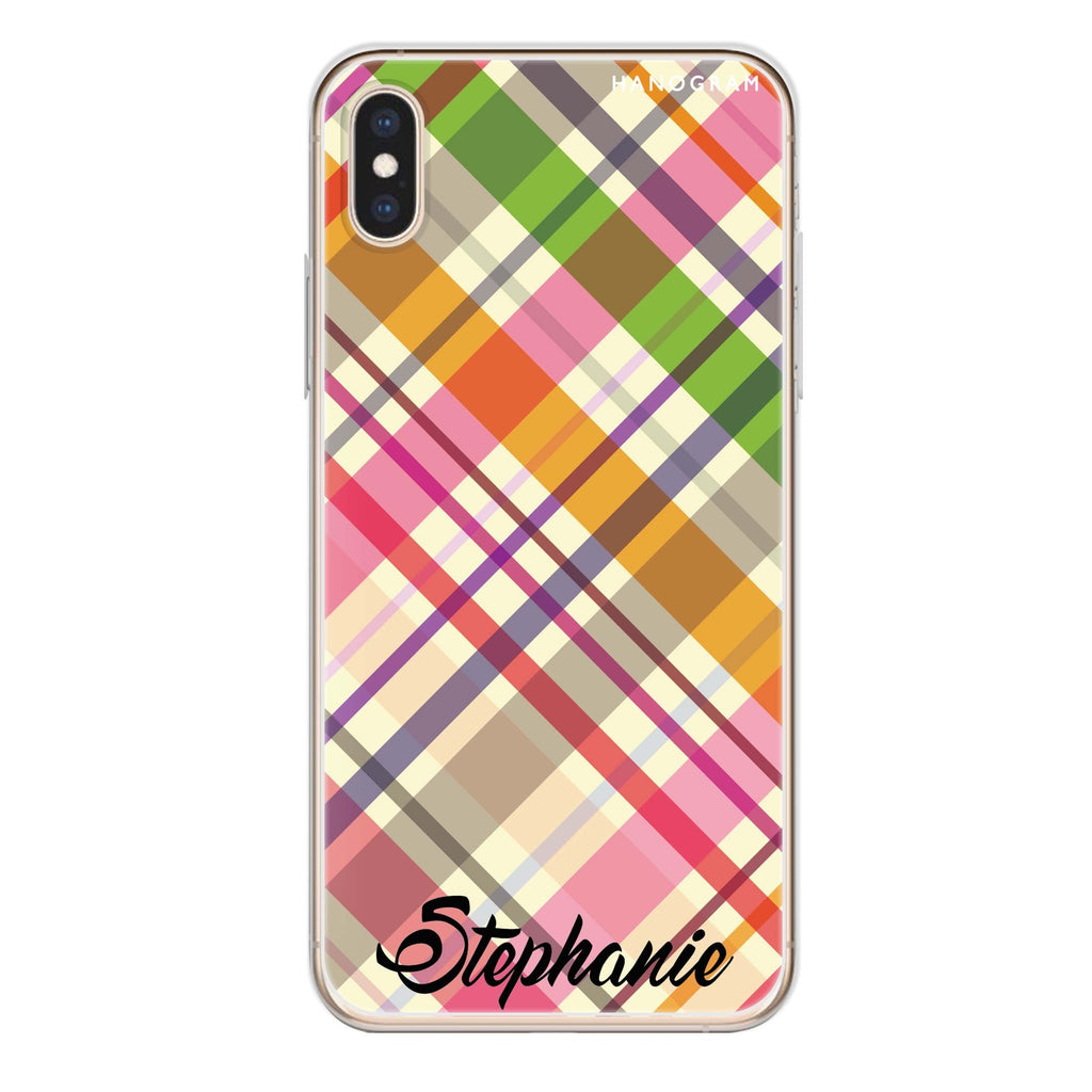 Colourful Checker Custom Name iPhone XS Soft Clear Case