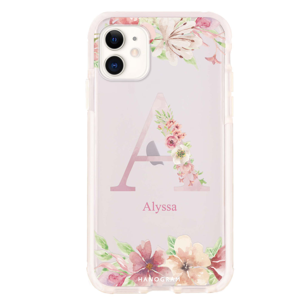 Monogram & Floral iPhone 11 Shockproof Bumper Case