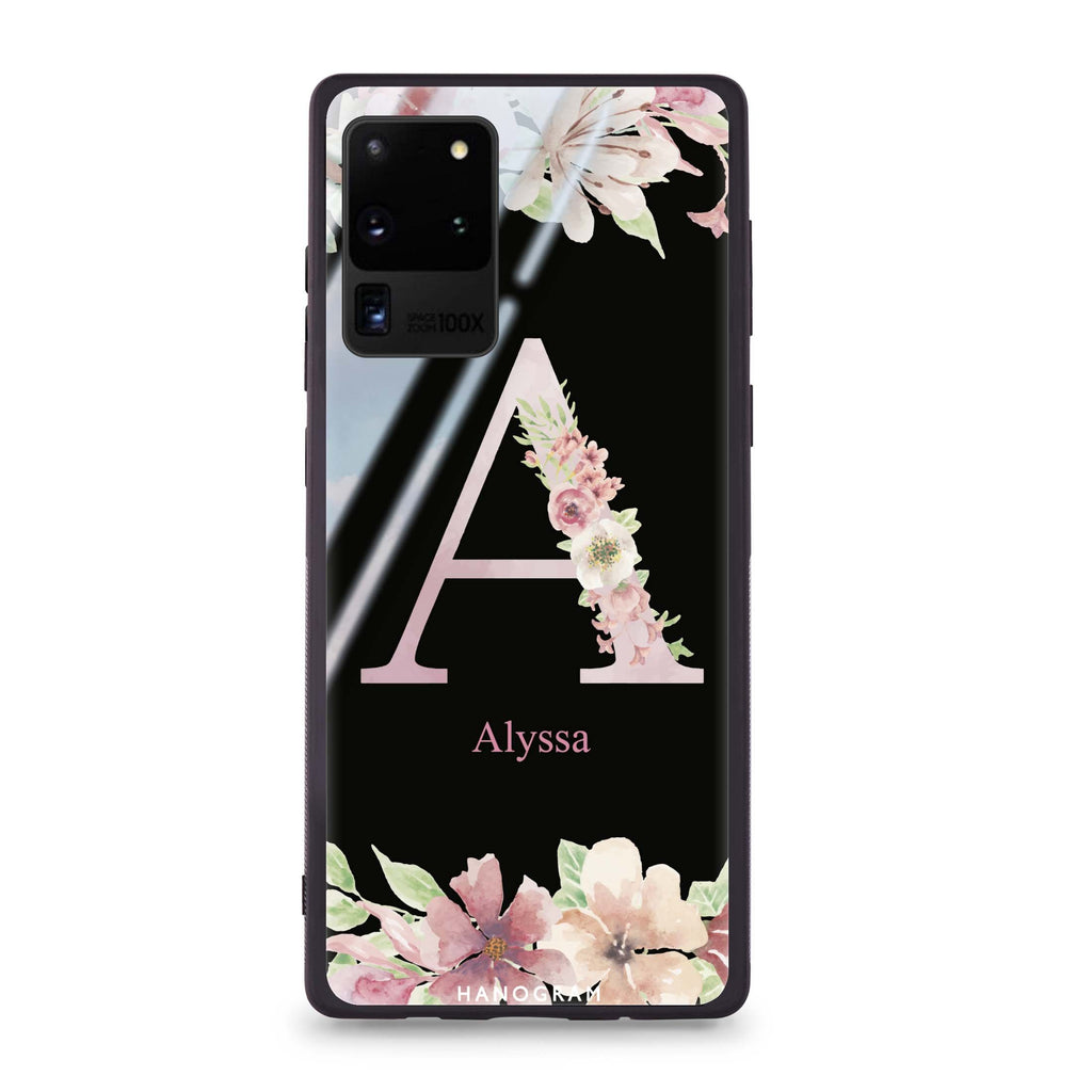 Monogram & Floral Samsung Glass Case