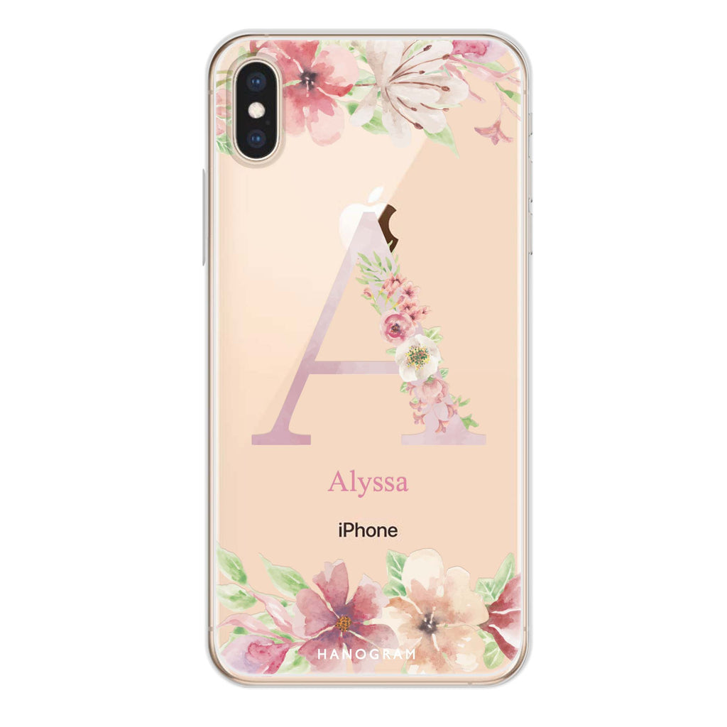 Monogram & Floral iPhone XS Max Soft Clear Case