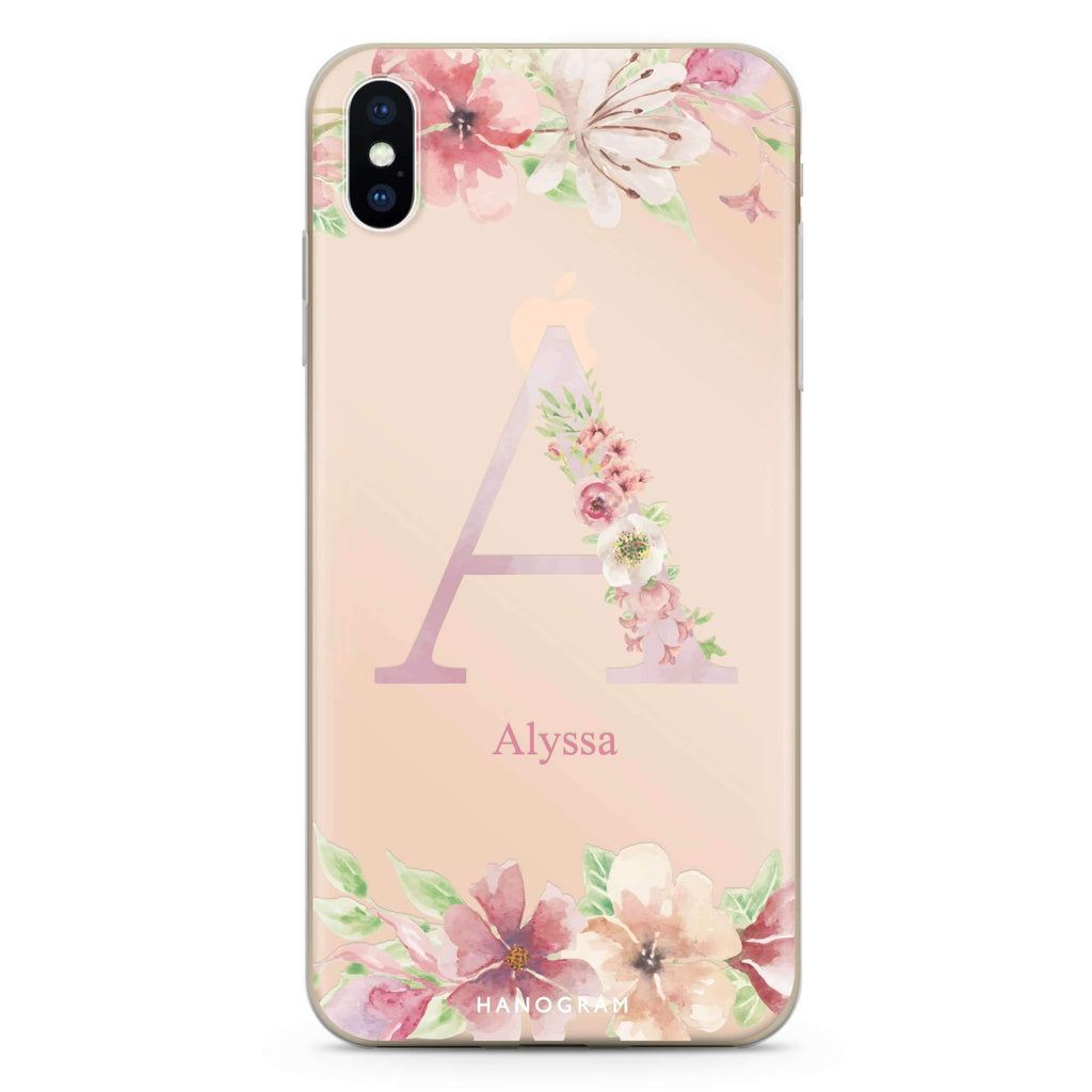 Monogram & Floral iPhone XS Soft Clear Case